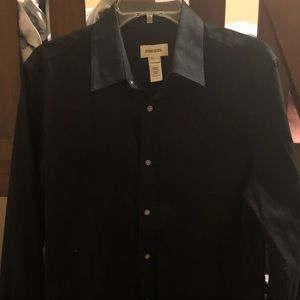 Diesel Mens Black Small Button Down sz L great con